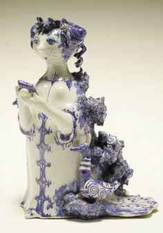 Bjorn Wiinblad Danish glazed ceramic female figure, perhaps Hera, holding a mirror and with a peacock to her side. Signed Danmark and with the artist's initials. Glazed Ceramic, Ceramic Artists, Mid Century Design, Medium Art, Danish, Lion Sculpture, Ceramic Sculptures, Fountain, My Arts