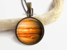 New to LittleApples on Etsy: Jupiter glass brass keychain planet solar system unisex gift (12.00 USD)