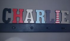 Navy Red and Grey Hat Rack-Personalized Gift-Nautical-Light Blue and Grey Boys Bedroom Decor by KendrasKuties on Etsy Bedroom Red, Boys Bedroom Decor, Bedroom Stuff, Grey Boys Rooms, Boy Rooms, Nursery Inspiration, Nursery Ideas, Room Ideas, Nautical Lighting