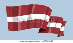National waving flag vector editable banner ribbon country world Latvia Riga latvian - stock vector