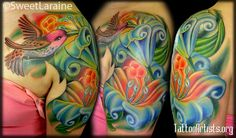 hummingbird tattoo.. beautiful color