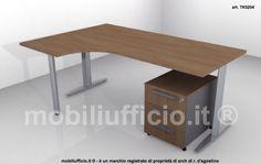 JAZZ operativo - art. TK5254 workstation o scrivania angolare per ufficio dimensione cm. 180 x 120 con basamento in metallo ed eventuale cassettiera in abbinamento.