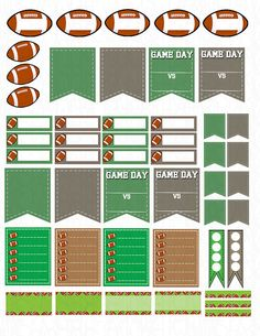 Printable Planner Stickers Football Game Day by LaceAndLogos