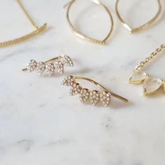 "Did you know our earrings are safe for sensitive ears? We don't use ""mystery metals"", only sterling silver and gold filled posts. This is happy news to all you with sensitive ears!  #goldfilled #sterlingsilver #gold #earclimber #style #designer #delicate #boston"
