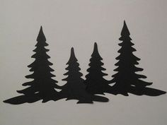 Black Silhouette Die Cut Christmas Tree Border Scrapbooking ...