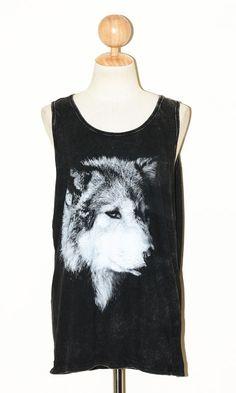 Wolf Face Bleached Black Singlet Art Punk Rock Pop Sleeveless Animal T-Shirt Size L
