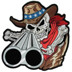 Shotgun Barrel Willy Skull Cowboy Large Back Patch