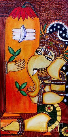 Ganapathy Art Print by Saranya Haridasan. All prints are professionally printed, packaged, and shipped within 3 - 4 business days. Choose from multiple sizes and hundreds of frame and mat options. Lord Ganesha Paintings, Ganesha Art, Krishna Art, Shri Ganesh, Ganesh Rangoli, Ganesha Drawing, Shiva Art, Krishna Painting, Kerala Mural Painting