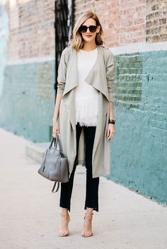 spring outfit, casual outfit, trench coat outfit, rainy day outfit, spring work outfit, street style, street chic style - beige trench coat, beige fringe sweater, black crop jeans, nude heeled sandals, black sunglasses, grey handbag