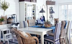Can never have enough blue, white, & wicker!