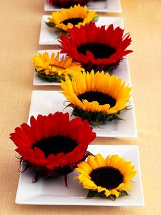 Float colorful flowers in mini water dishes for a easy-to-make centerpiece. More simple fall decor: www.bhg.com/decorating/seasonal/fall/inspired-fall-decorating-ideas/?socsrc=bhgpin100512floatflowerscenterpiece#page=3