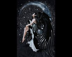 Dark Moon Fairy | Black moon fairy - fairy, black, fantasy, pretty, mystic, moon, dark ...