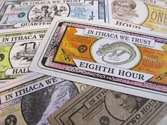 A pile of different Ithica Hours Currency.