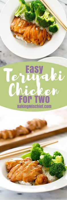 This easy teriyaki chicken with homemade teriyaki sauce has to be one of the the simplest, most delicious dinners ever. Recipe includes nutritional information. From http://BakingMischief.com