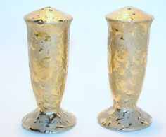 Gold Colored Glass Salt and Pepper Shakers Vintage Hollywood Regency