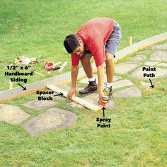 Form and pour a new concrete sidewalk; the perfect first concrete project for the beginner. Replace that cracked walk with a smooth one. Concrete Path, Concrete Walkway, Poured Concrete, Concrete Projects, Hardboard Siding, White Gravel, Circular Patio, Diy Deck, Deck Design