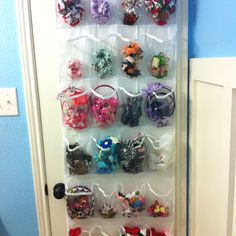 Use a clear over the door shoe organizer for hair accessories.