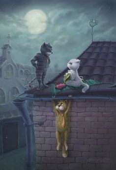 """Some. Cats. Are. Really ??,   """"Hey, have. You. Seem. Tommy?""""  """"Oh, last time I saw him he was  just. Hanging around ."""""""