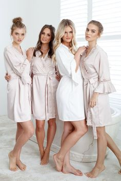 The exclusive Le Rose luxe satin robe is available in four colours with a lace trim. Champagne Bridesmaid Dresses, Bridesmaid Flowers, Wedding Dresses, Bridesmaid Pictures, Barefoot Girls, Bridal Robes, Sexy Feet, Tight Dresses, Asian Girl