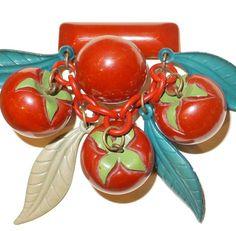 Fabulous vintage Bakelite tomato dangle brooch.