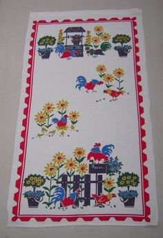 Vintage Startex Towel Roosters in the by unclebunkstrunk on Etsy