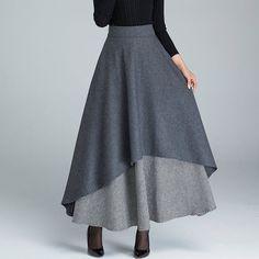 dark grey skirt long skirt warm winter skirt black and by xiaolizi Long Wool Skirt, Wool Skirts, Skirt Fashion, Hijab Fashion, Fashion Dresses, Skirt Outfits, Dress Skirt, Dress Up, Handmade Skirts