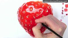 How to paint a realistic strawberry in watercolor by Anna Mason