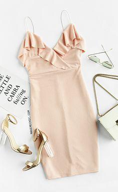 Frill Trim Textured Surplice Cami Dress