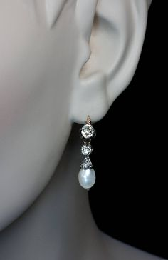 Antique Natural Pearl Diamond Earrings | From a unique collection of vintage drop earrings at https://www.1stdibs.com/jewelry/earrings/drop-earrings/