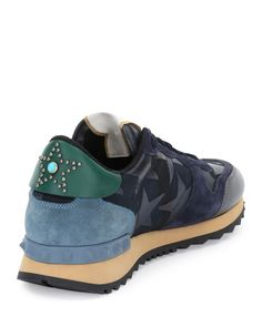 Valentino Star-Embellished Colorblock Sneaker, Marine