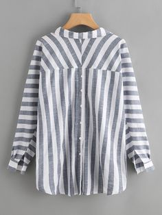 ZANZEA Casual Striped Lapel V-neck Long Sleeve Plus Size Shirt can cover your body well, make you more sexy, Newchic offer cheap plus size fashion tops for women. Plus Size Shirts, Plus Size Blouses, Blouse Styles, Blouse Designs, Long Shirt Outfits, Natural Fiber Clothing, Plus Size Fashion, Clothes For Women, Women's Shirts