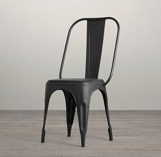 RH's Remy Side Chair:Early-20th-century café chairs from France served as the inspiration for our industrial-style seating. Its classic, simple design, light weight and compact proportions make it a versatile choice.