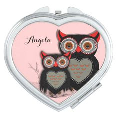 Such a cute compact mirror with a whimsical mother and baby owl illustration.Don't forget to customize it with a personal name or clear it if you prefer no name.. Makes an adorable little gift.