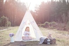 Whimsical, outdoor, teepee, girl, vintage, photography.