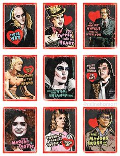 The Rocky Horror Valentine's Day Card Pack is perfect for sharing with your loved ones, friends and coworkers on Valentine's Day! Rocky Horror Show, The Rocky Horror Picture Show, Tim Curry Rocky Horror, Columbia Rocky Horror, Horror Room, Horror Party, The Frankenstein, Vintage Horror, Weird Vintage