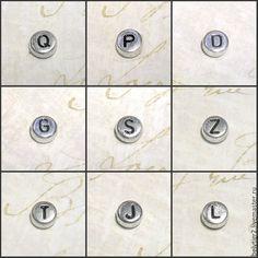 """Купить бусины """"Алфавит"""", 7 мм, акрил, цвет серебро / черный, 1 шт"""