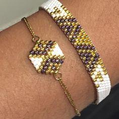 Petite création de la semaine. Bonne journée à vous #artisticbracelet #bijoux #madeinfrance #bracelet #violet #blanc #or #gold