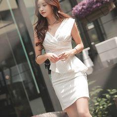 [预定款] 轻熟气质V领上衣+半身裙 套装