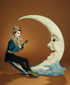 "Bread and Roses - Auction - July 26, 2016: Lot #37 French Musical Automaton ""Pierrot Serenading the Crescent Moon"" by Lambert"
