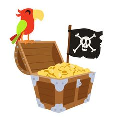 Silhouette Design Store: Pirate Treasure With Parrot And Flag Silhouette Design, Silhouette Studio, Alice In Wonderland Characters, Wholesale Boutique Clothing, Pirate Adventure, Unicorn Halloween, Pirate Treasure, Studio Software, Silhouette America