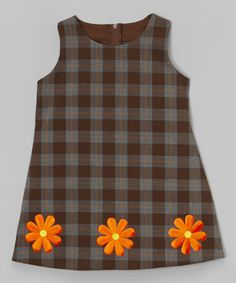 This Black & Orange Plaid Flower Dress - Infant, Toddler & Girls is perfect! #zulilyfinds