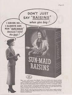 Free Vintage Clipart, Vintage Magazine Ads and Vintage Artwork Perfect for Home & Man-Cave Decor: Vintage 1936 Sun-Maid California Finest Raisins Original Print Ad - Food & Snacks
