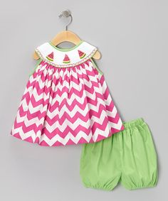 Watermelon Yoke Top & Green Bloomers - Infant & Toddler by Smock Candy on #zulily #cutiestyle