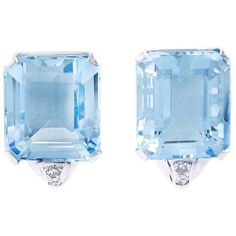 Preowned Art Deco Brazilian Natural Aquamarine Diamond Earrings ($9,335) ❤ liked on Polyvore featuring jewelry, earrings, multiple, earrings fine jewelry, christmas earrings, emerald cut earrings, fine jewelry and diamond jewelry