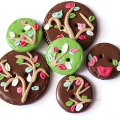 Handmade lot buttons green brown buttons set  by LittleHappyBoom