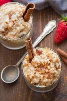 Creamy, dreamy, and bursting with sweetness and a hint of cinnamon! This luscious vegan rice pudding is easy to make and delicious hot or cold. You'd never guess this scrumptious dessert was dairy-free! #veganrecipes #ricepudding #vegandessert Rice Desserts, Vegan Dessert Recipes, Dairy Free Recipes, Rice Recipes Vegan, Vegan Treats, Vegan Foods, Vegan Dishes, Rice Recipes For Dinner, Whole Food Recipes
