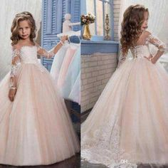 2017 New Flower Girls Dresses For Weddings Jewel Neck Long Sleeves Lace Appliques Sweep Train Ball Gown Birthday Children Girl Pageant Gown Girls White Dress, Wedding Flower Girl Dresses, Lace Flower Girls, Wedding Gowns, Princess Flower Girl Dresses, Floral Wedding, Bridal Gowns, Wedding Reception, Pageant Dresses