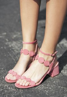 '60s-inspired block heel sandals in pink | Sole Society Shea