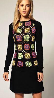 Granny squares pullover. No pattern