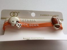 Bracelet Silicone Orange and White Football Touch Down w Helmet and Football B83 #Unbranded #Jelly